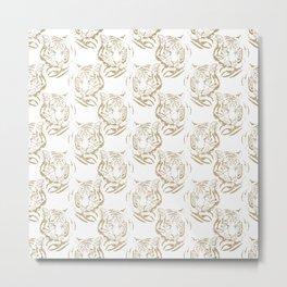 Elegant Gold Glitter Tiger Print White Design Metal Print