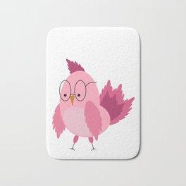 Cute pink hipster bird Bath Mat