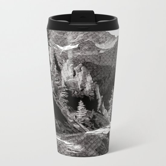 The road through the forrest below the mountains Metal Travel Mug