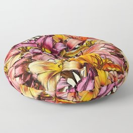 Daylily Drama - a floral illustration pattern Floor Pillow
