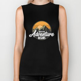And So The Adventure Begins Cute Camping Nature Biker Tank