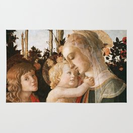 "Sandro Botticelli ""Madonna and Child with St. John the Baptist"" Rug"