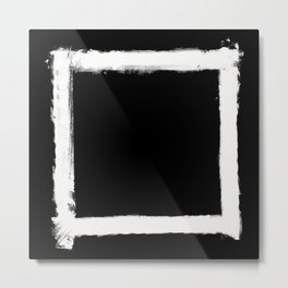 Square Strokes White on Black Metal Print