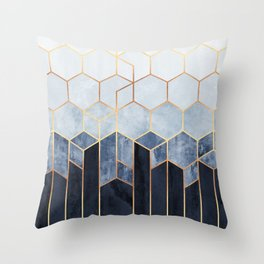 Soft Blue Hexagons Throw Pillow