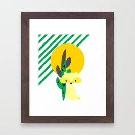 Cute fox in the desert Framed Art Print