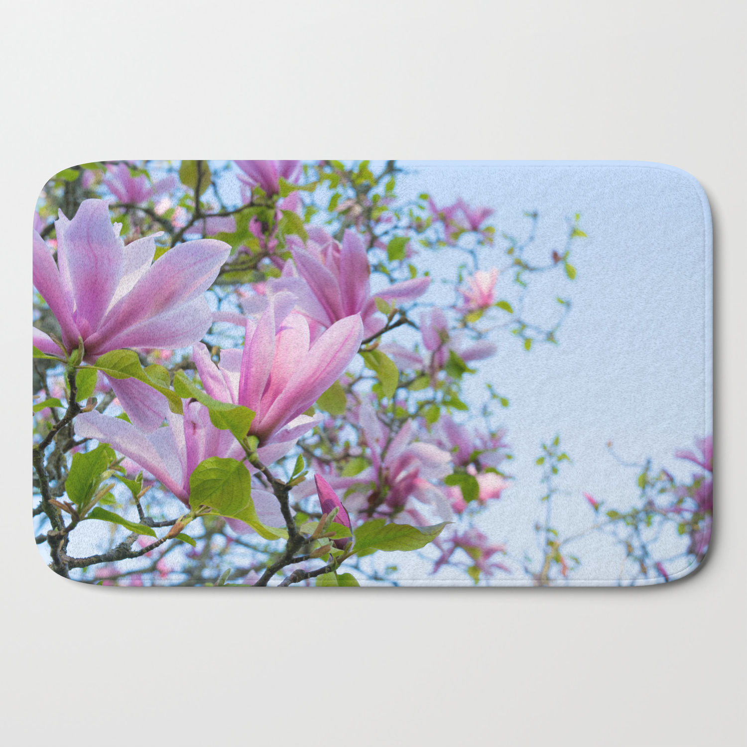 Magnolia Trees In Bloom Bath Mat By Rootsandbranches Society6