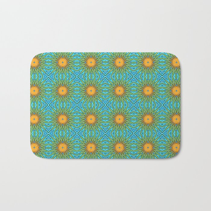 Yellow Salsify Flower Pattern Bath Mat