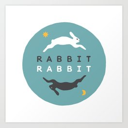 Rabbit Rabbit Day and Night Illustration Art Print