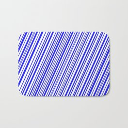 Blue on White Diagonal Stripes Bath Mat