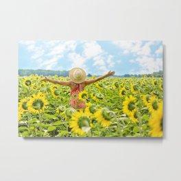 Woman Free in Sunflower Field Metal Print