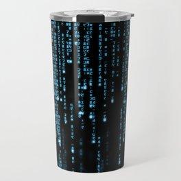 Matrix Binary Blue Code Travel Mug