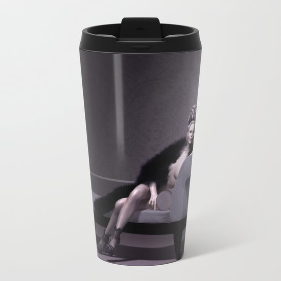 Beautiful courtesan in her lavender salon Metal Travel Mug