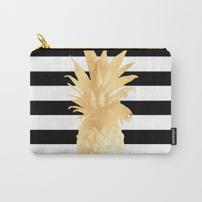 Gold Pineapple Black and White Stripes Carry-All Pouch