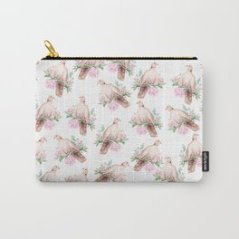 Hand painted modern pink brown watercolor peonies dove pattern Carry-All Pouch