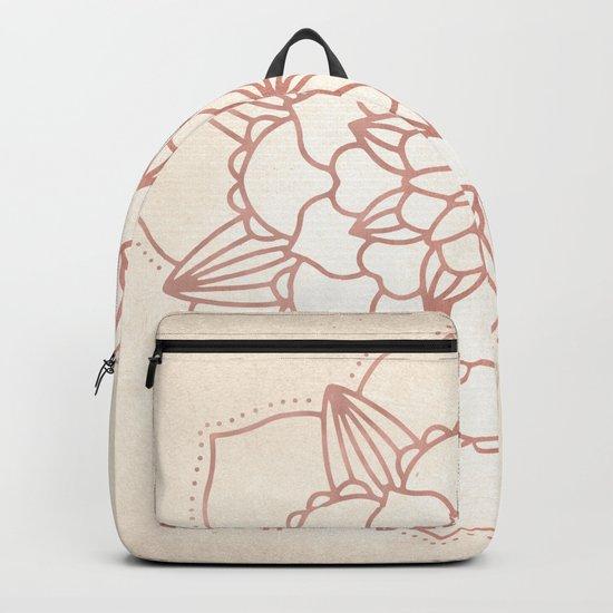 Mandala Bloom Rose Gold on Cream Backpack