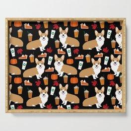 Corgi - Pumpkin Spice, psl, coffee, latte, pumpkin pie,  fall, autumn, holiday, Serving Tray