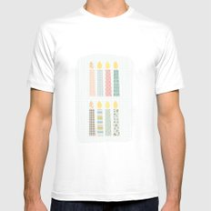 candles pattern White Mens Fitted Tee MEDIUM