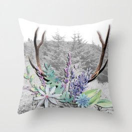 Floral Stag antlers b/w Throw Pillow