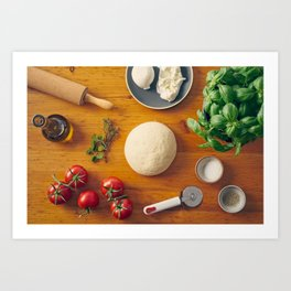 Ingredients for making pizza Art Print