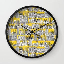 New York yellow Wall Clock