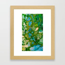 GreenTurquoise Blue Cells Stone Marble Abstract Painting Framed Art Print