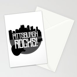 Pittsburgh Rock Music Steel City Skyline Vinyl Record Vintage Guitar Print Stationery Cards