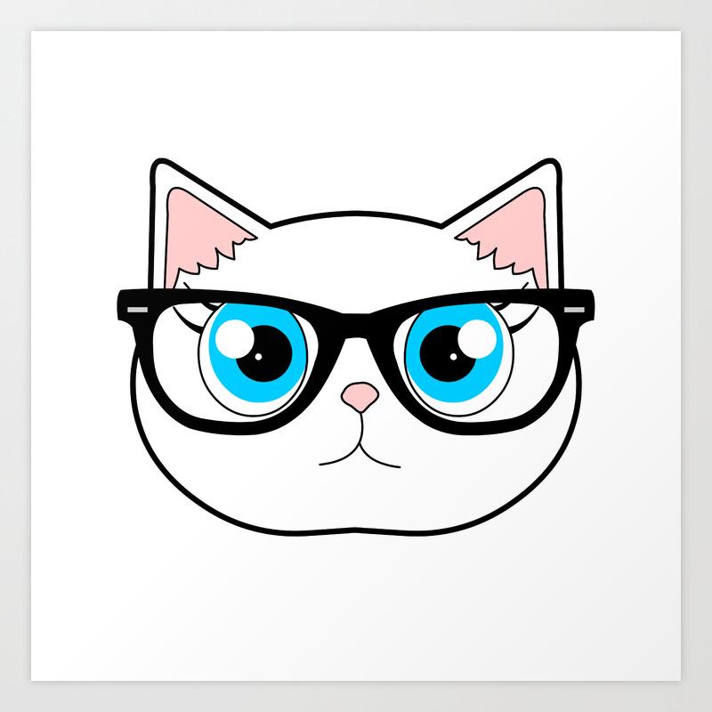 Cute illustrated hipster cat wearing glasses watercolor postcard art print
