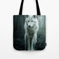 arya stark Tote Bags featuring Wolf by Julie Hoddinott