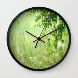 Birch leaves with Green Grass Wall Clock