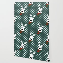 Reindeer in a snowy day (green) Wallpaper