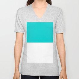White and Cyan Horizontal Halves Unisex V-Neck