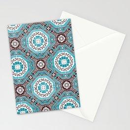 Portuguese Tiles Azulejos Aquamarine Black White Pattern Stationery Cards