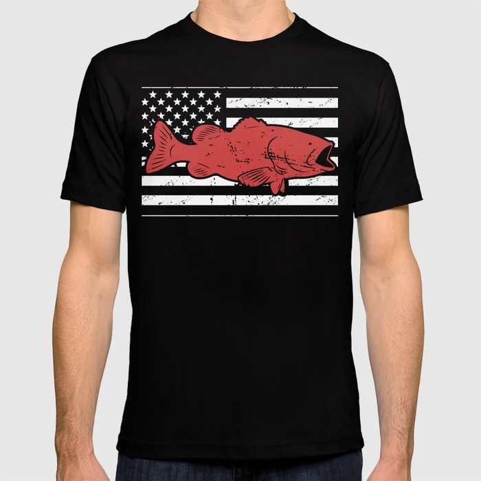 0f993d54b Retro American Flag & Bass Fishing T-shirt by meatyboi | Society6