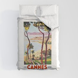 1938 France Cannes Cote D'Azur Travel Poster Comforters