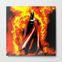 Bat on Fire Metal Print
