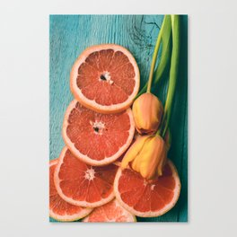 Grapefruit and Tulips Canvas Print