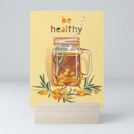 Be healthy. Sea buckthorn warm drink Mini Art Print
