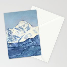Mont Blanc mountain, original Alps mountains landscape oil painting, Highest mountain in Europe Stationery Cards