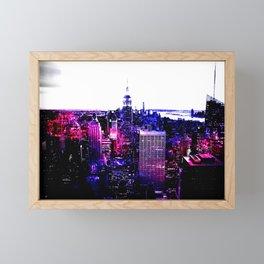 new york City Pink Purple Blue Framed Mini Art Print