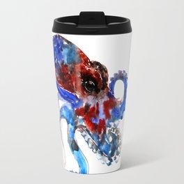 Octopus - blue red octopus artwork Travel Mug