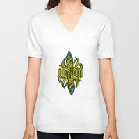 starcraft V-neck T-shirts featuring Angel 3K ambigram by LoneLeon