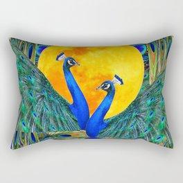 FULL GOLDEN MOON & 2  BLUE PEACOCKS PATTERN ART Rectangular Pillow