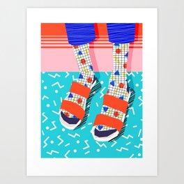 No Doi - memphis throwback retro classic style fashion 1980s 80s hipster shoes socks urban trendy Art Print