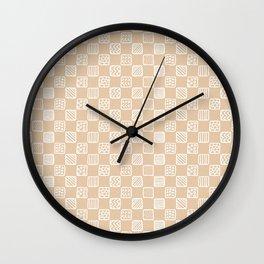 Blush peach white hand painted geometric squares Wall Clock