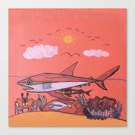 Galopagos Shark & Friends Canvas Print
