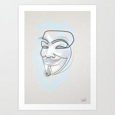 One line mask: V Art Print