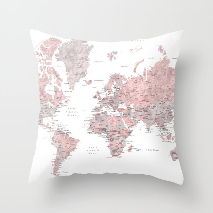 Dusty pink and grey detailed watercolor world map Throw Pillow