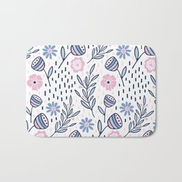 Romantic floral pattern, pink and blue flowers on white Bath Mat