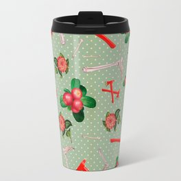 Crimson Flowers & Fibulas Travel Mug