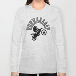 Brrraaaaap Checkered Flag Moto Language Long Sleeve T-shirt